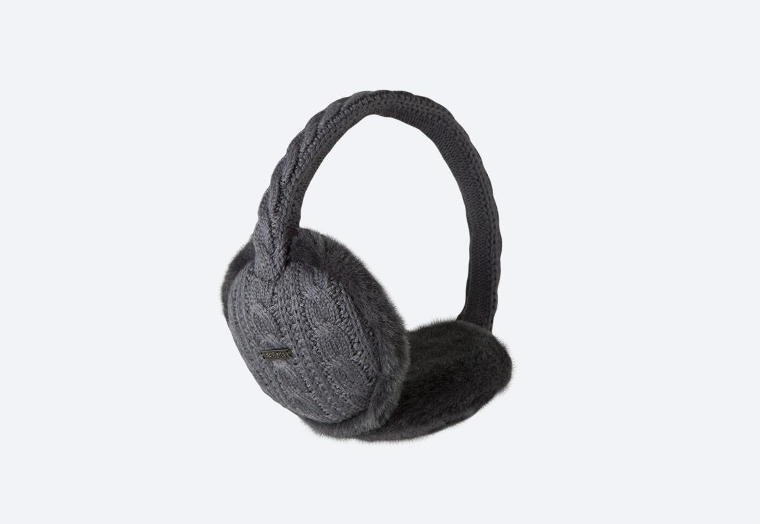 Monique Earmuffs — zimní klapky na uši — dámské — pletené, kožešinové — tmavě šedé