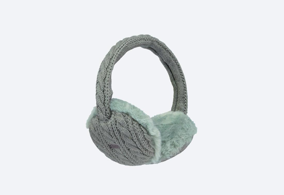 Monique Earmuffs — zimní klapky na uši — dámské — pletené, kožešinové — pastelové zelené