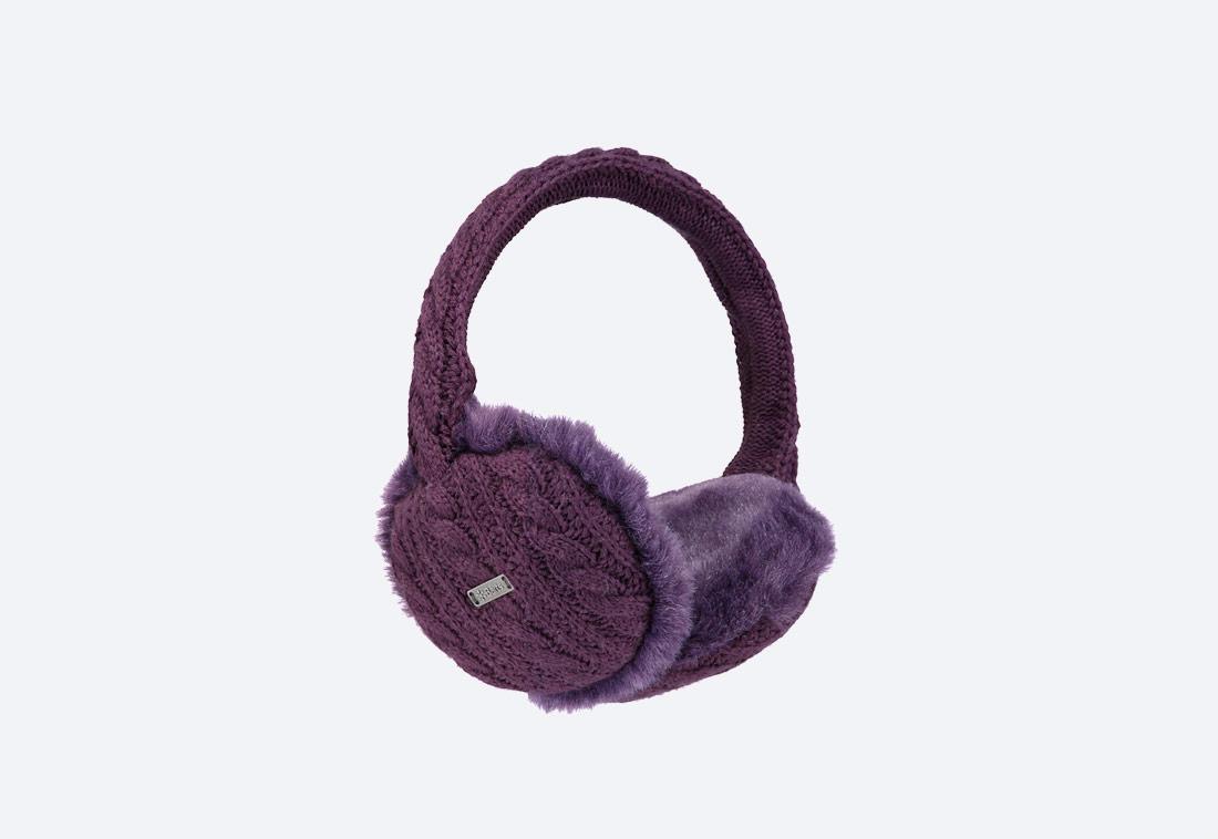 Monique Earmuffs — zimní klapky na uši — dámské — pletené, kožešinové — fialové