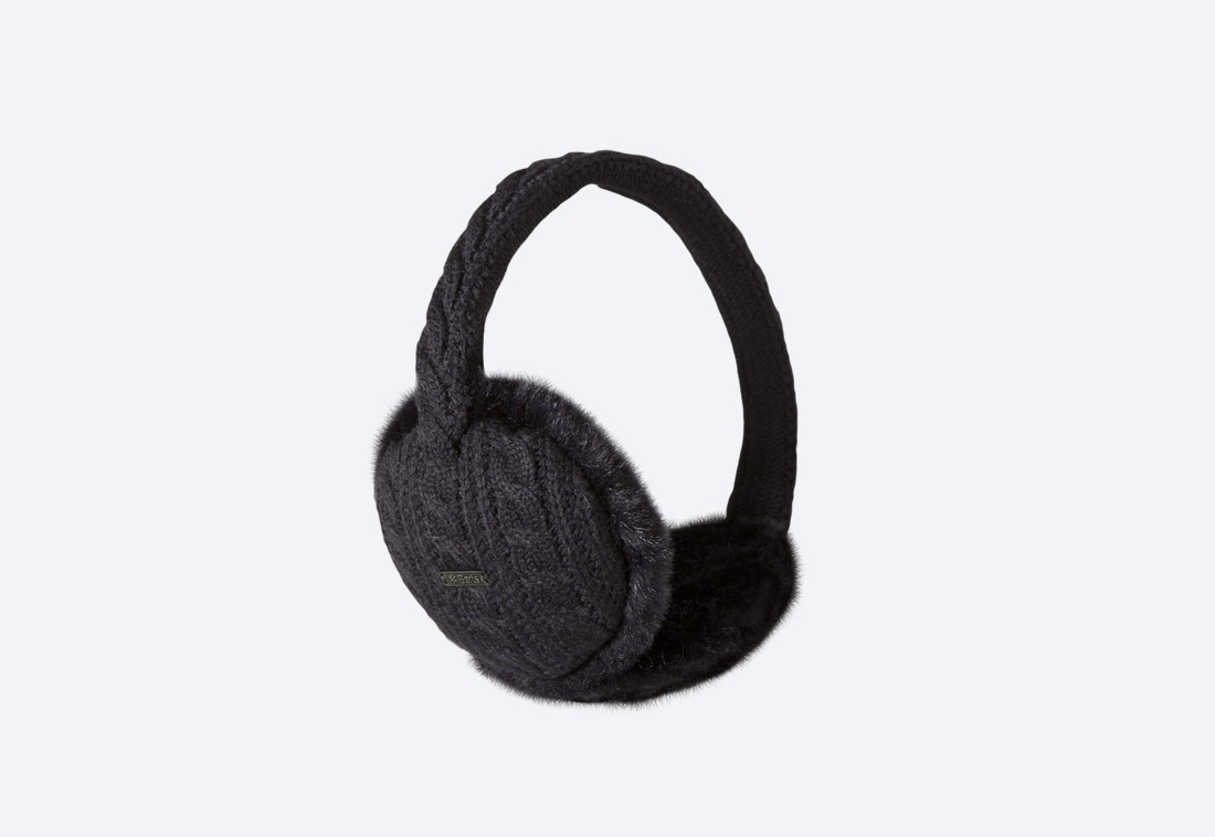 Monique Earmuffs — zimní klapky na uši — dámské — pletené, kožešinové — černé