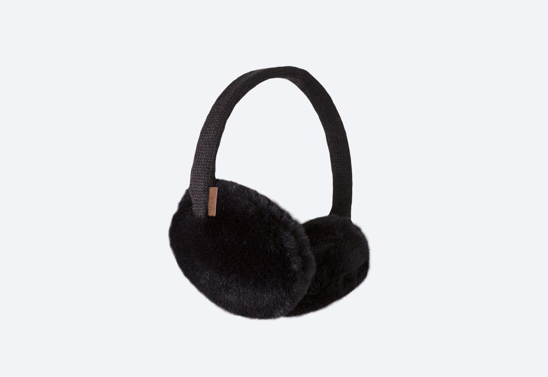 Plush Earmuffs — zimní klapky na uši — dámské — kožešinové, chlupaté — černé