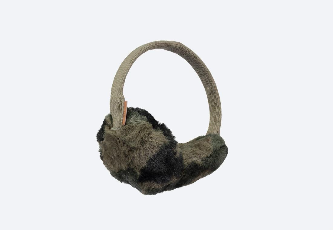 Plush Earmuffs — zimní klapky na uši — dámské — kožešinové, chlupaté — hnědo-zelené