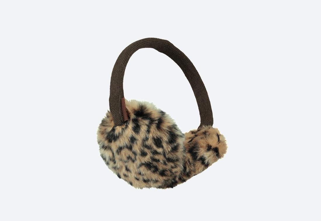 Plush Earmuffs — zimní klapky na uši — dámské — kožešinové, chlupaté — leopardí