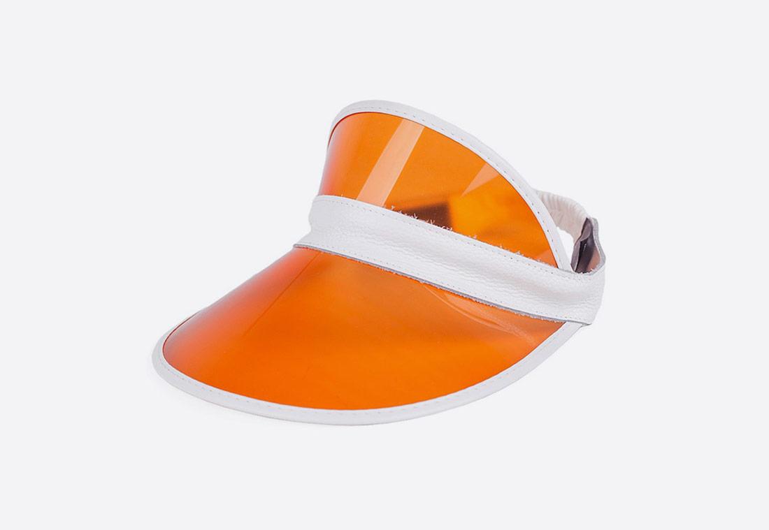 Brixton Monroe Visor – letní kšilt proti slunci – oranžový, bílé lemy