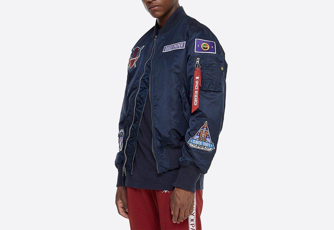 Daily Paper x Alpha Industries — oboustranný bomber MA-1 — modrý — krátká bunda do pasu — blue bomber jacket