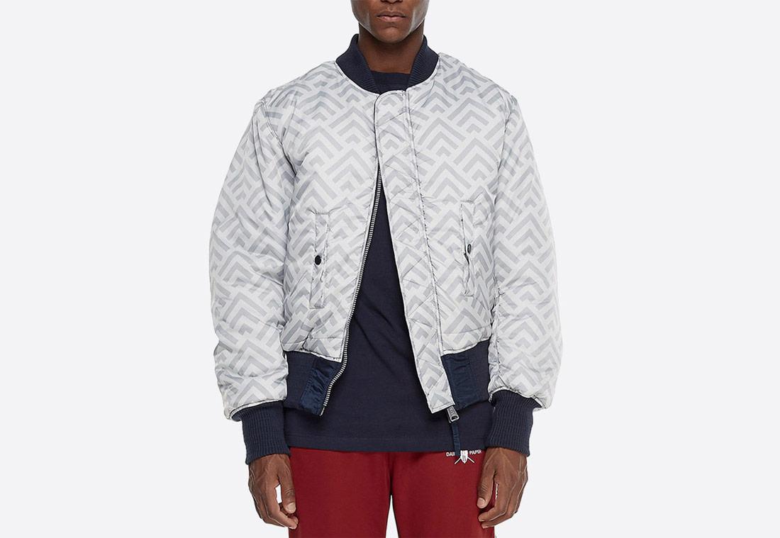 Daily Paper x Alpha Industries — oboustranný bomber — šedý s geometrickým vzorem — krátká bunda do pasu — grey bomber jacket