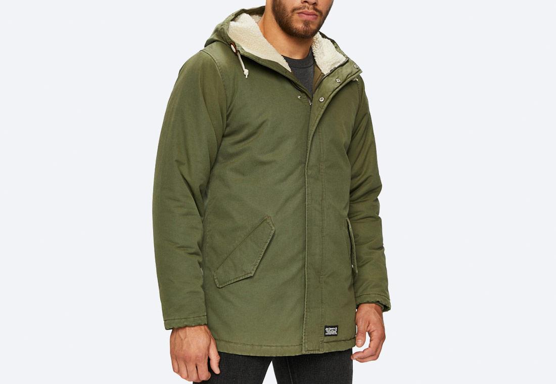 Levi's Thermore Padded Parka — zimní bunda s kapucí — olivově zelená
