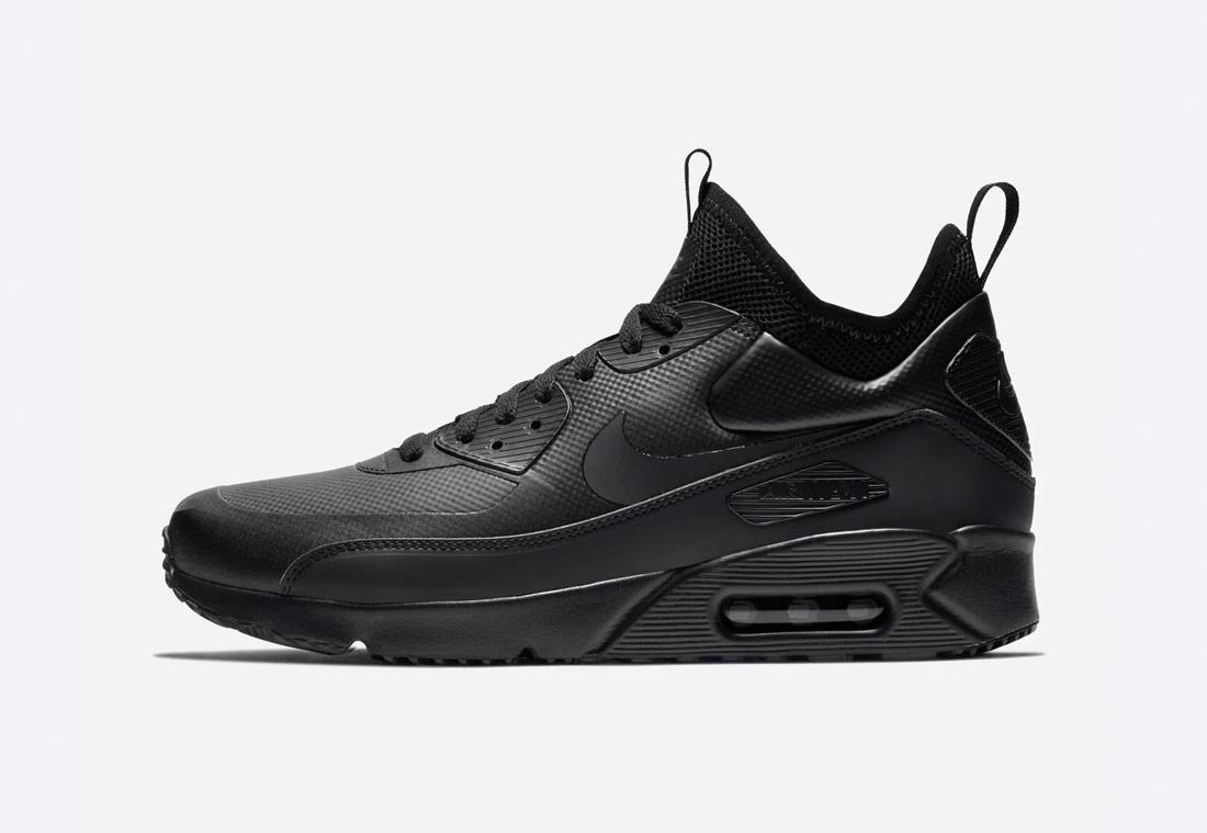Nike Air Max 90 Ultra Mid Winter — zimní boty, kotníkové — pánské — černé — tenisky — Airmaxy — black men's winter sneakers