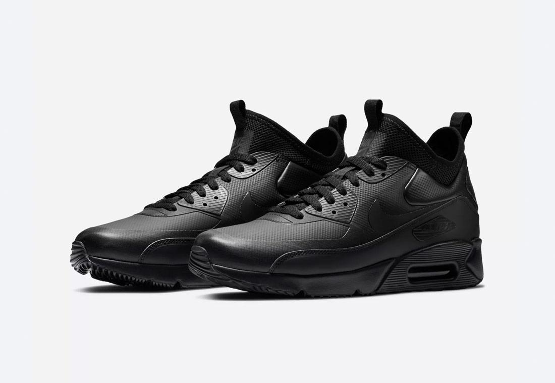 Nike Air Max 90 Ultra Mid Winter — zimní boty — pánské — černé — tenisky — Airmaxy — black men's winter sneakers