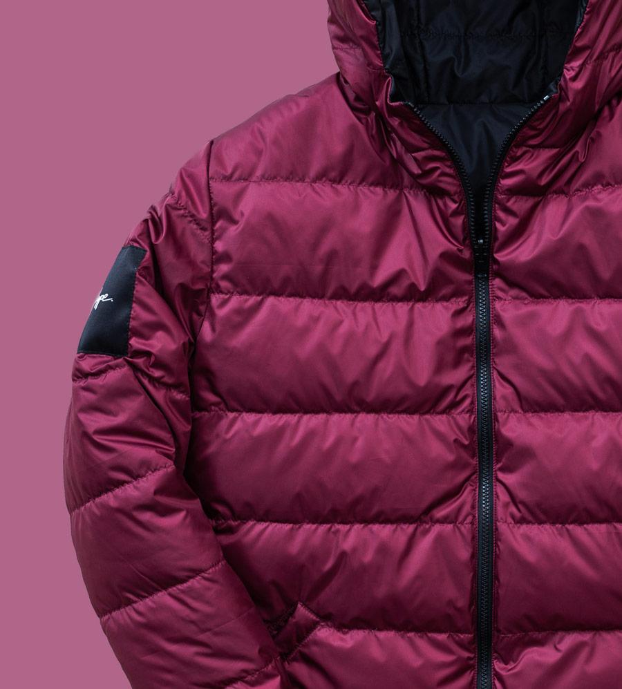 Phenotype — péřová bunda s kapucí — pánská — vínově červená