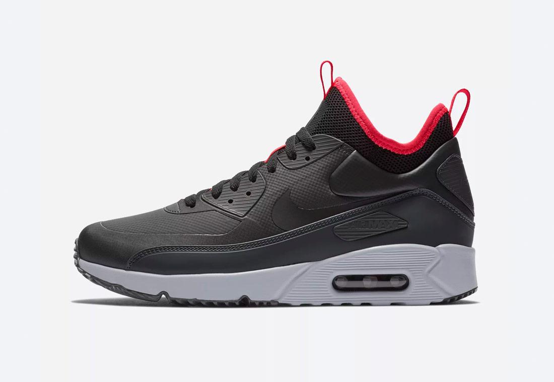 Nike Air Max 90 Ultra Mid Winter — zimní boty, kotníkové — pánské — černé, červené detaily — tenisky — Airmaxy — black men's winter sneakers