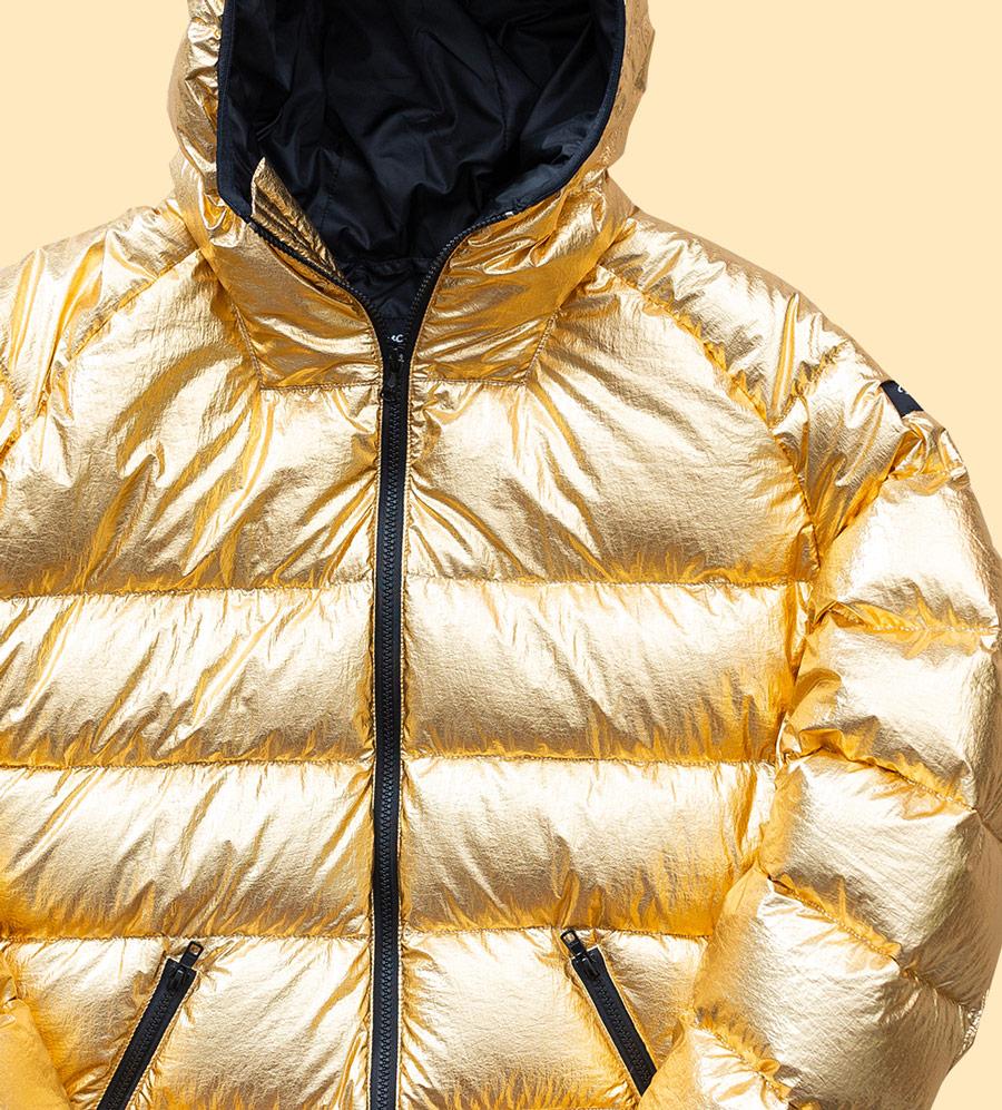 Phenotype — péřová bunda s kapucí — pánská — zlatá, lesklá, metalická