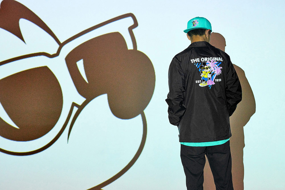 Vans x Disney — Mickey Mouse — pánská černá bunda — zelená kšiltovka