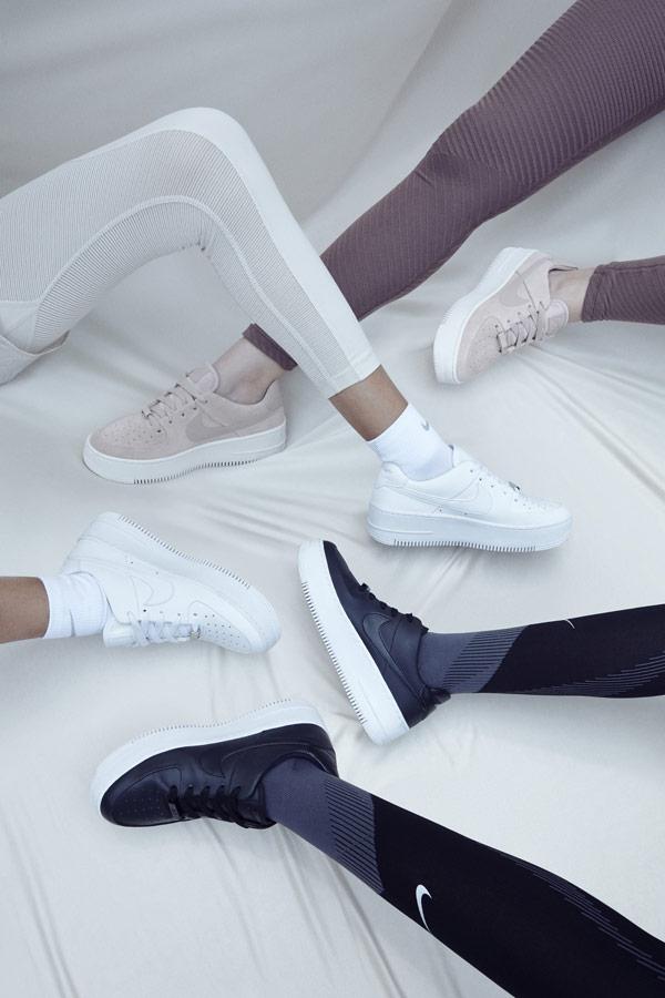 Nike Air Force 1 Sage Low — dámské boty — sneakers — tenisky — bílé, černé, béžové — lookbook