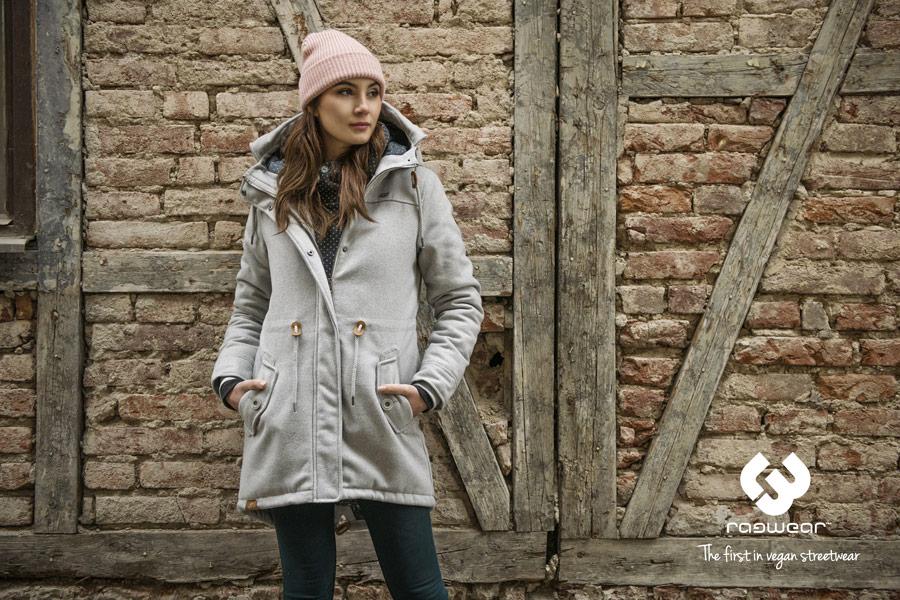 Ragwear — šedý kabát s kapucí — zimní — dámský