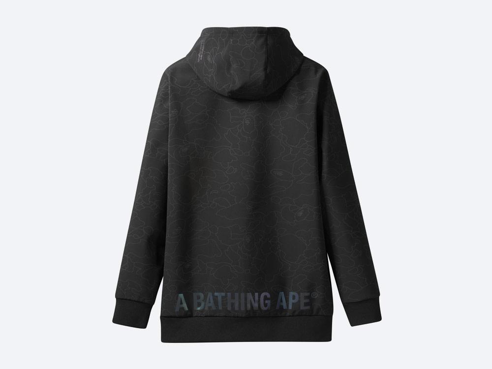 adidas Snowboarding by BAPE® — snowboardová mikina s kapucí — černá se vzorem