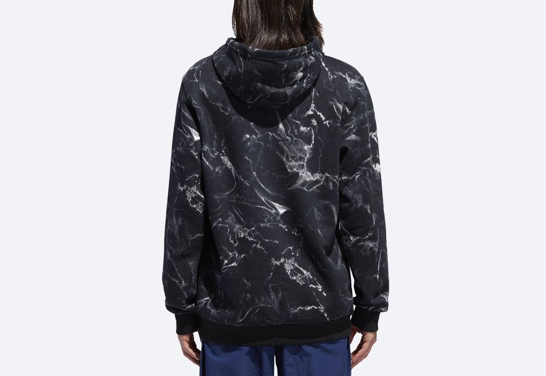 adidas Originals Marble Print — pánská mikina s kapucí — mramorová — černá — hoodie
