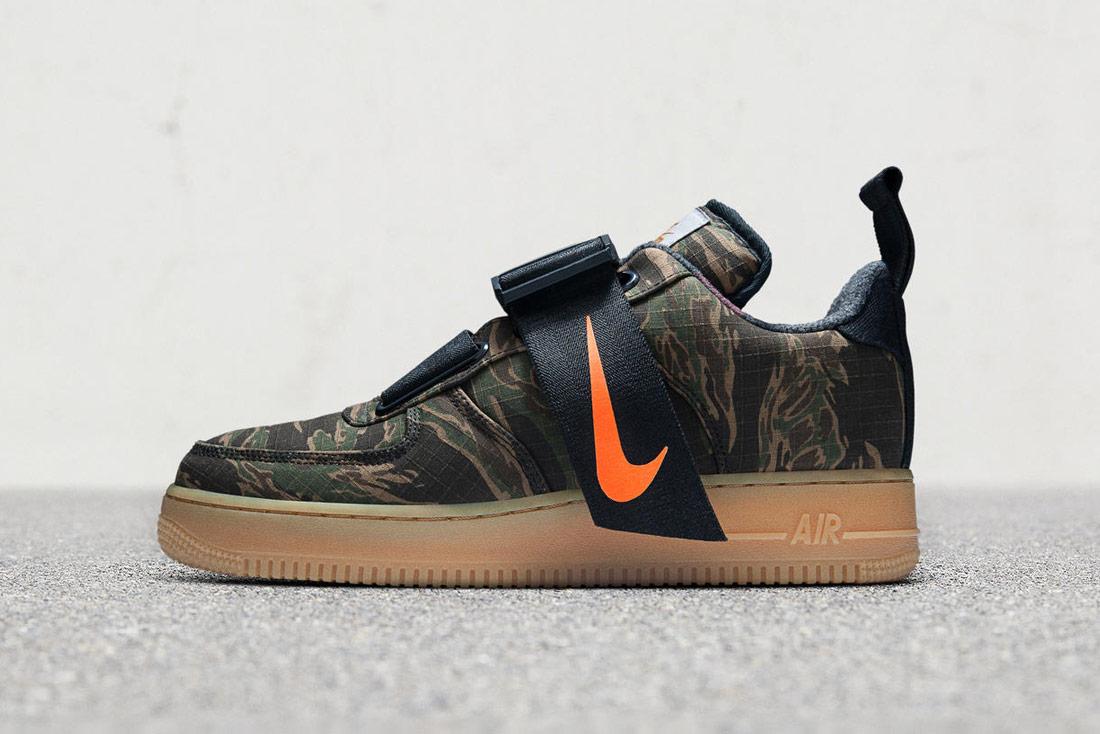 Carhart WIP x Nike Air Force 1 Low Utility — maskáčové boty — tenisky na suchý zip — zelené — pánské, dámské — Airmaxy
