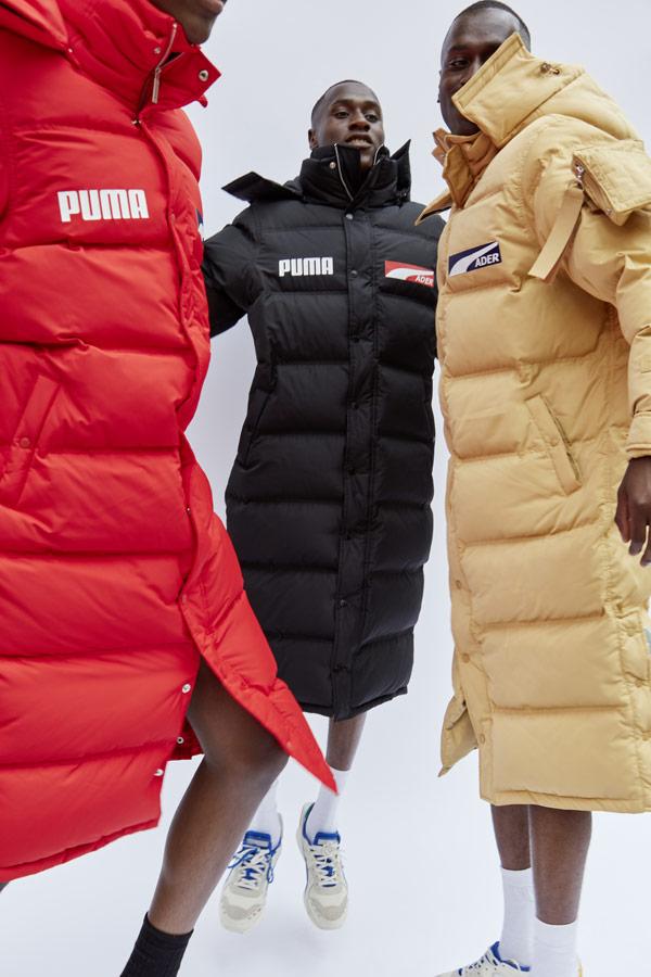 PUMA x ADER ERROR — dlouhé péřové bundy s kapucí — černé, červené, béžové — pánské, dámské — puffer jackets, coats