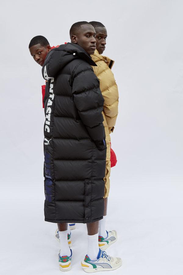 PUMA x ADER ERROR — dlouhé péřové bundy s kapucí — pánské, dámské — puffer jackets, coats