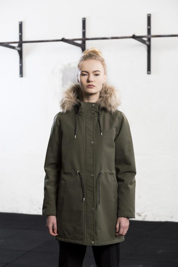 Selfhood — zimní parka s kapucí s kožešinou — bunda — dámská — olivově zelená