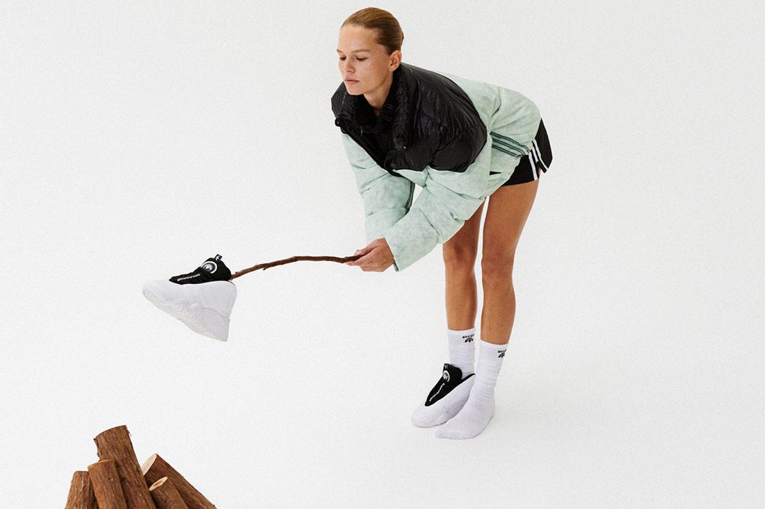 adidas Originals by Alexander Wang — péřová bunda — černo-zelená — kotníkové boty Turnout Bbal Shoes — Season 4 — lookbook