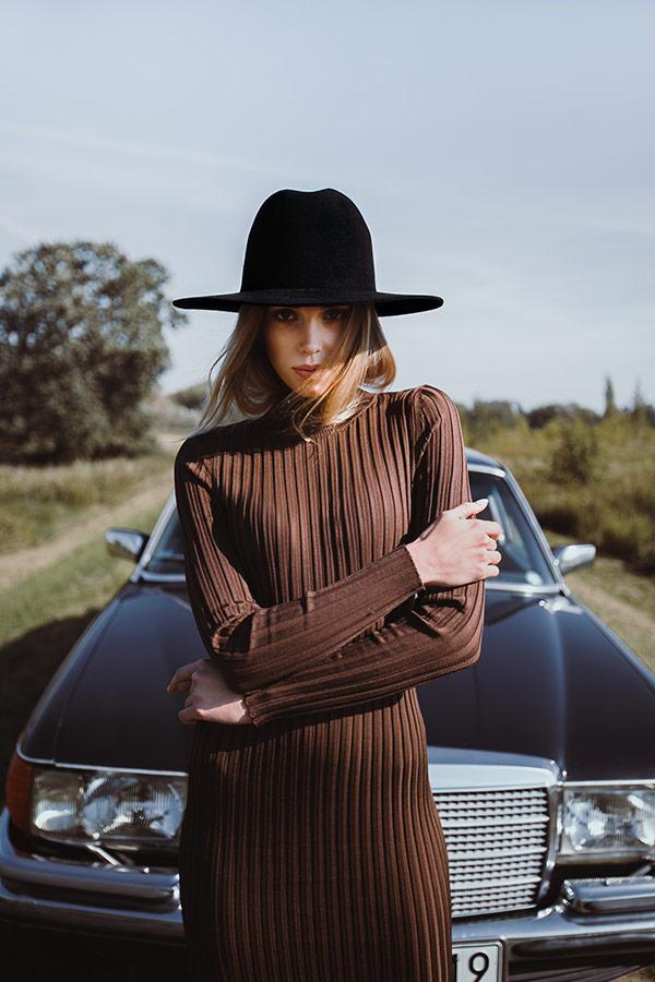 Paris+Hendzel — zimní klobouk Fedora — dámský — černý