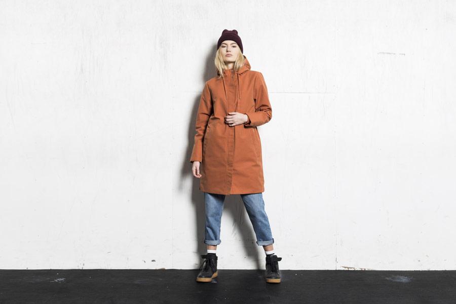 Selfhood — dámská zimní parka s kapucí — oranžová — zimní bunda