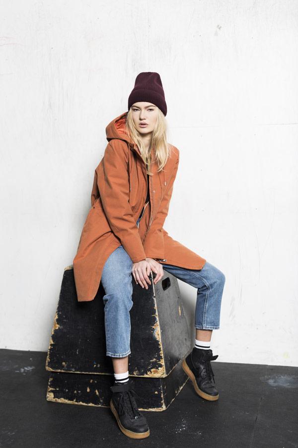 Selfhood — dámská zimní bunda — oranžová — parka s kapucí