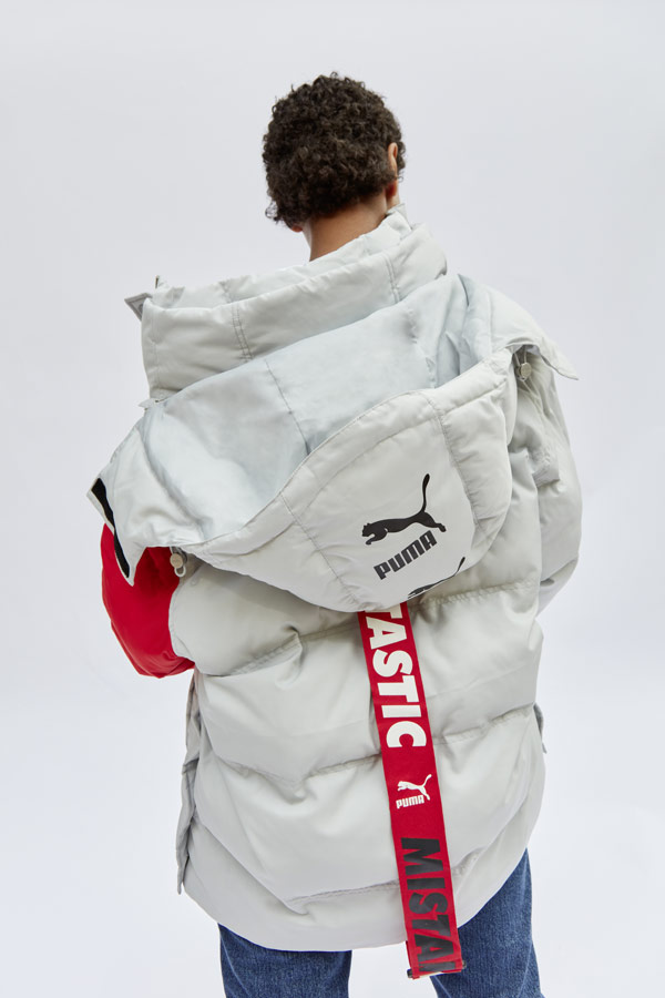PUMA x ADER ERROR — dlouhá péřová bunda — šedá — pánská, dámská — puffer jacket, coat