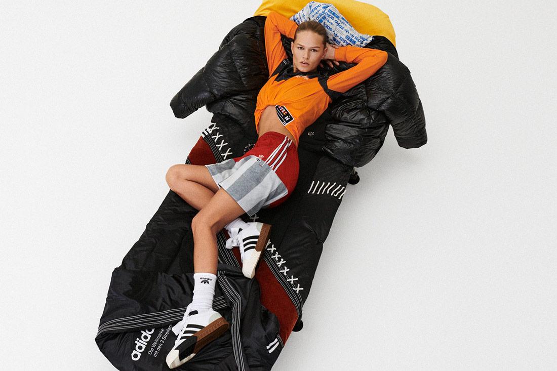 adidas Originals by Alexander Wang — boty Skate Super Shooes — červeno-šedé šortky — oranžové tričko s dlouhými rukávy — Season 4 — lookbook
