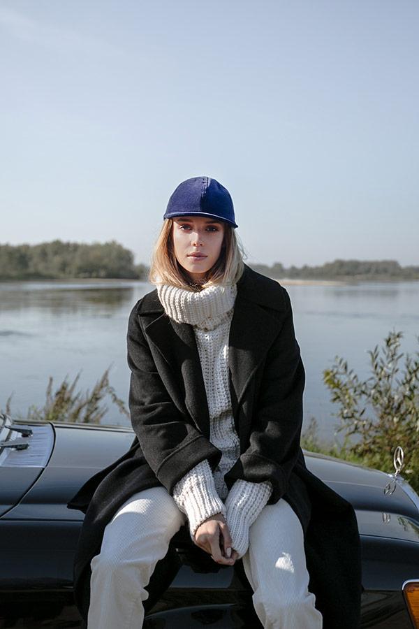 Paris+Hendzel — sametová zimní kšiltovka — dámská/pánská — modrá