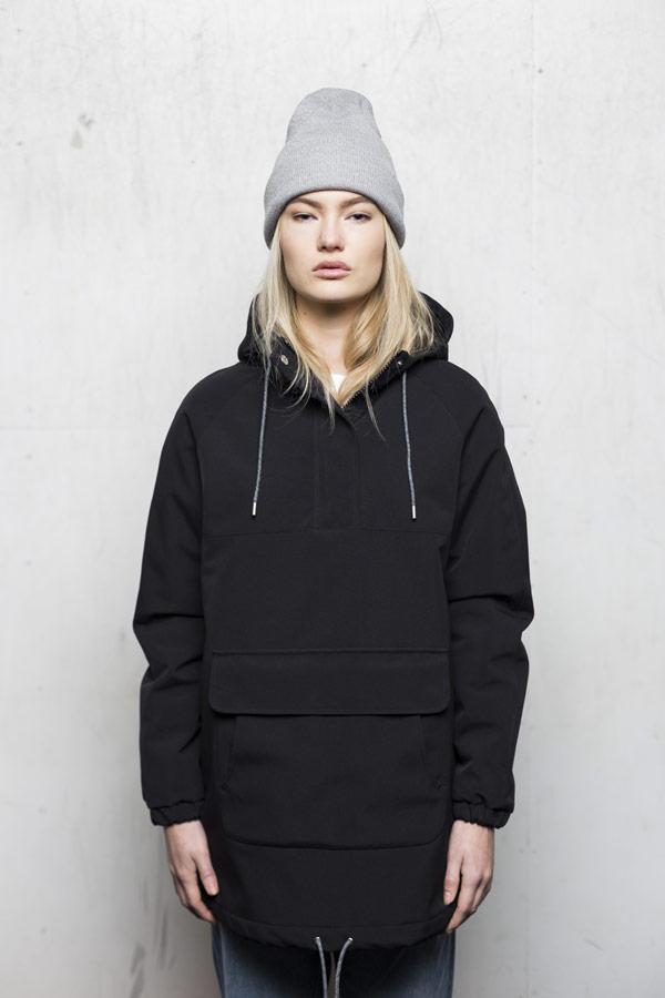 Selfhood — zimní bunda přes hlavu s kapucí — dámská — černá