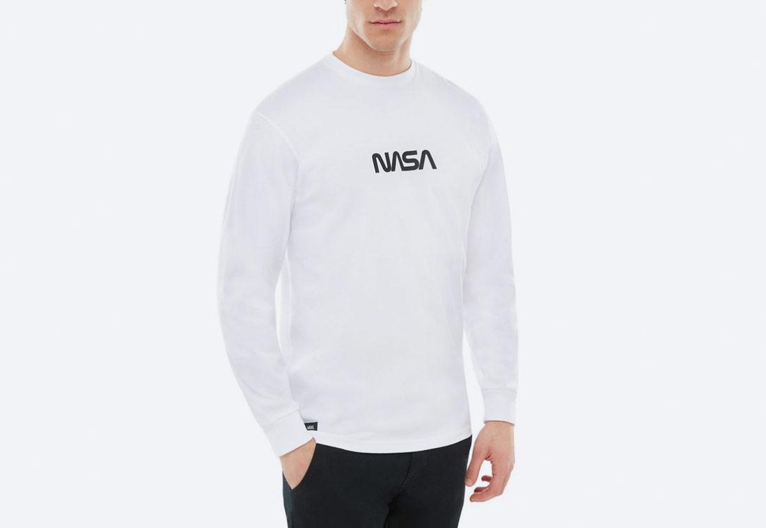 Vans x NASA — Space Voyager Long Sleeve T-Shirt — tričko s potiskem NASA — bílé — pánské