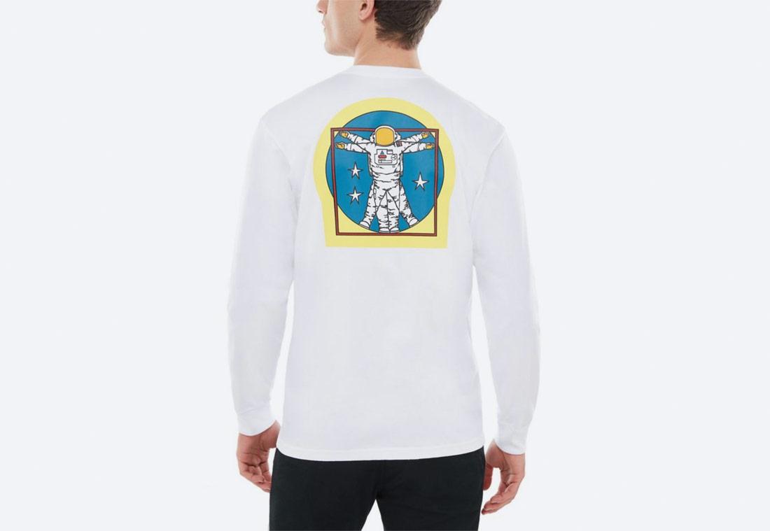 Vans x NASA — Space Voyager Long Sleeve T-Shirt — tričko s potiskem kosmonauta — bílé — pánské