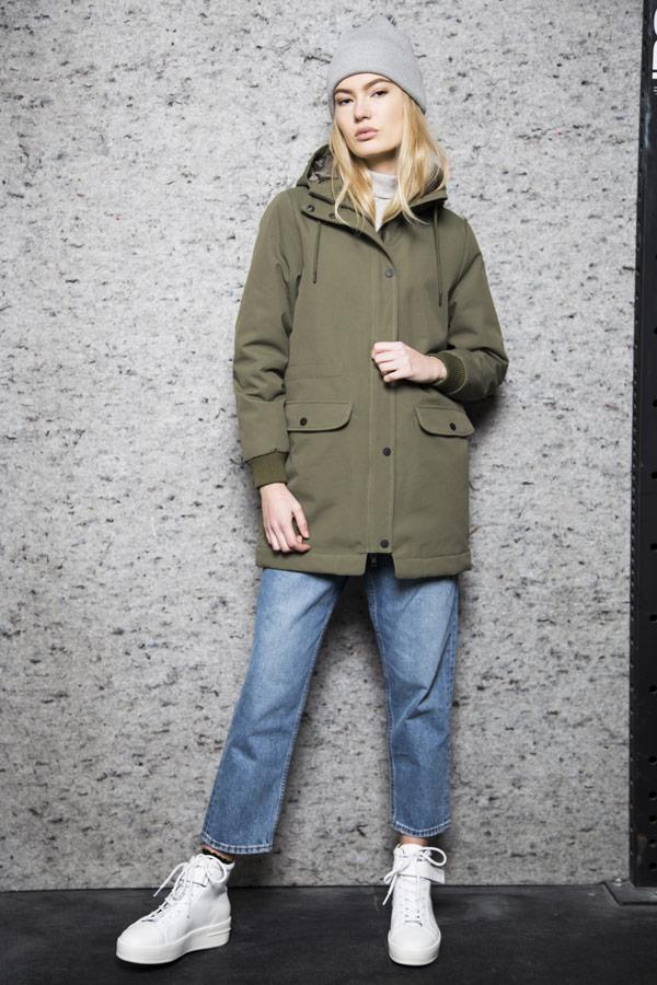 Selfhood — zimní parka s kapucí — bunda — dámská — olivově zelená