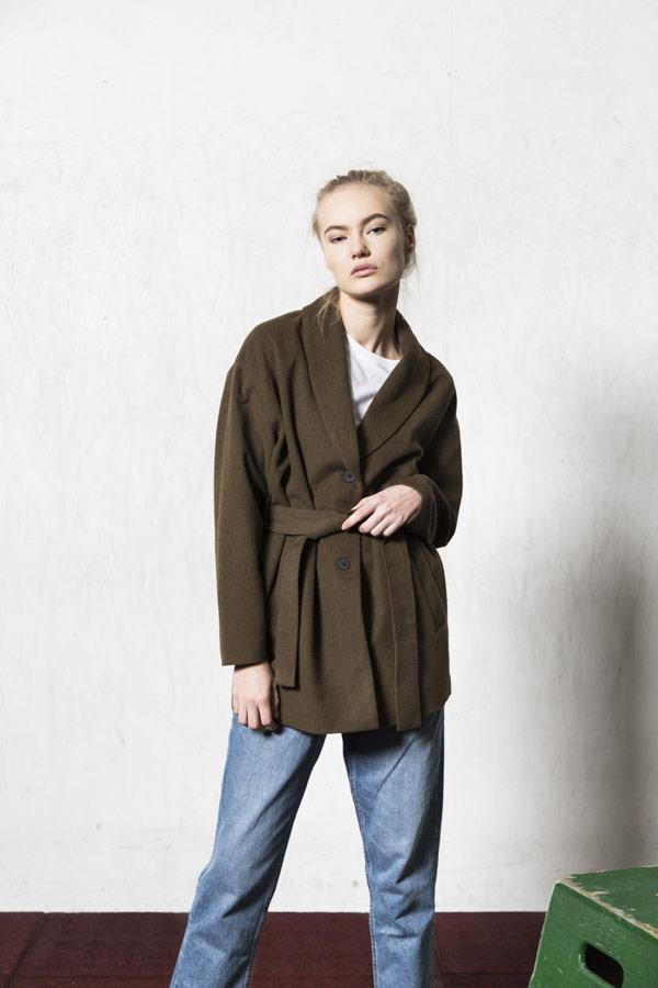 Selfhood — podzimní kabát — dámský — olivově zelený