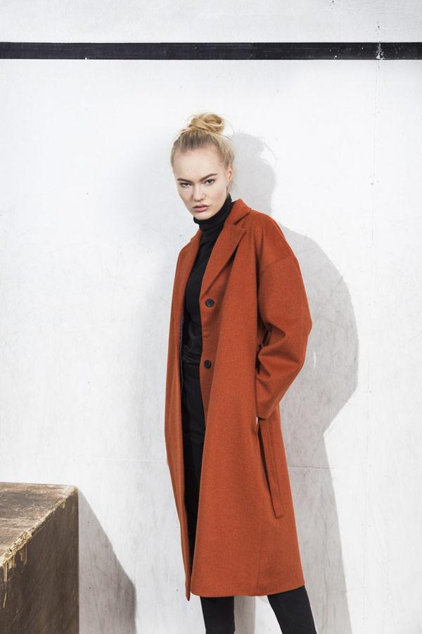 Selfhood — podzimní kabát — dámský — oranžový