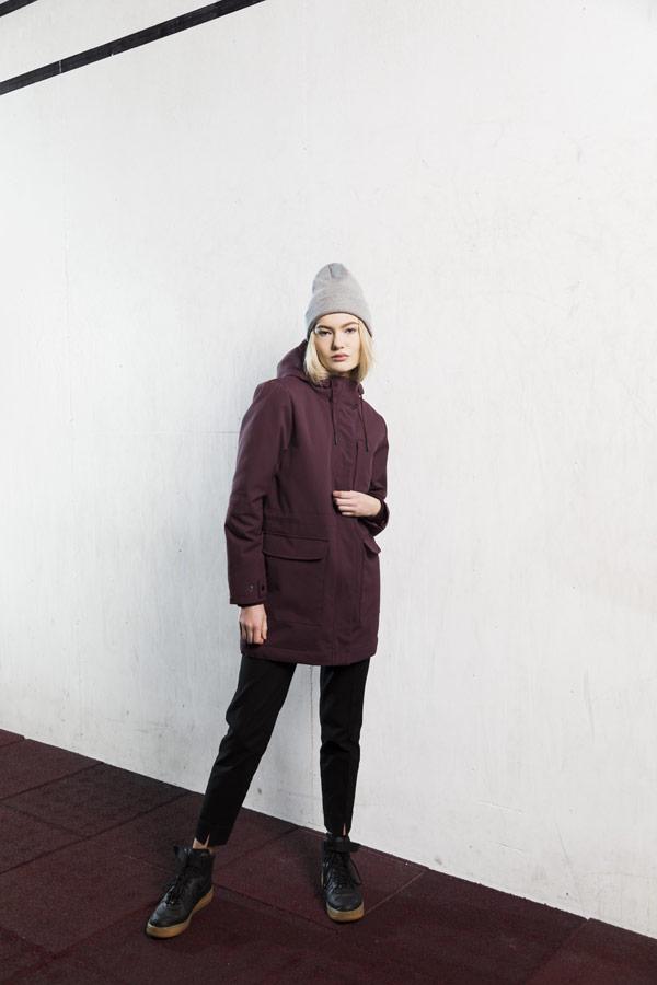 Selfhood — zimní parka s kapucí — dámská — vínově červená