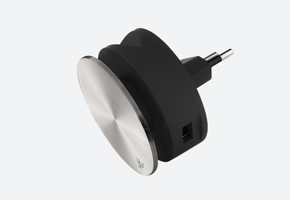 Usbepower Aero Mini Luxury Edition — designová domácí USB nabíječka, kulatá — stříbrná — 2 porty typu A — stojan na telefon