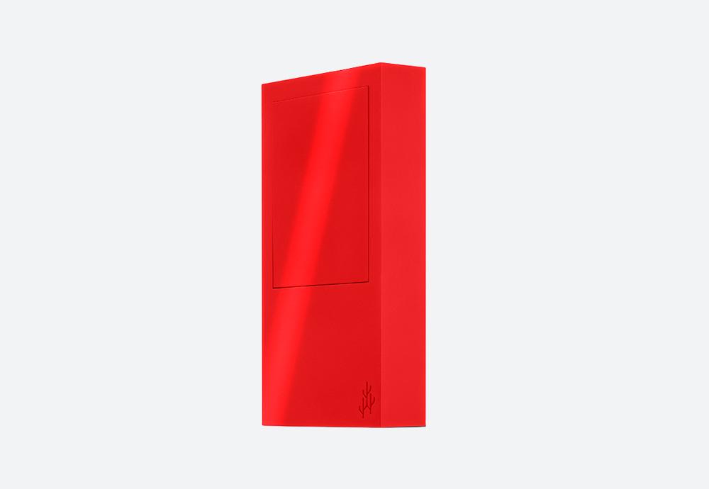 Usbepower Rock — USB nabíječka — designová, hranatá — červená — 2 porty typu A — stojan na telefon