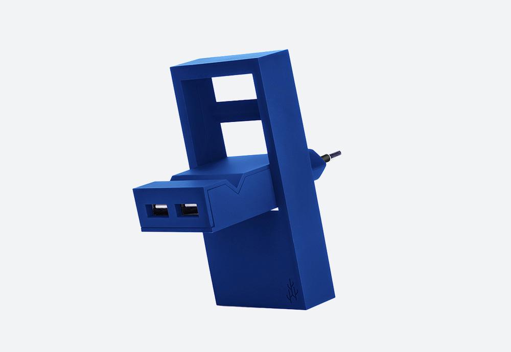 Usbepower Rock — USB nabíječka — designová, hranatá — modrá — 2 porty typu A — stojan na telefon