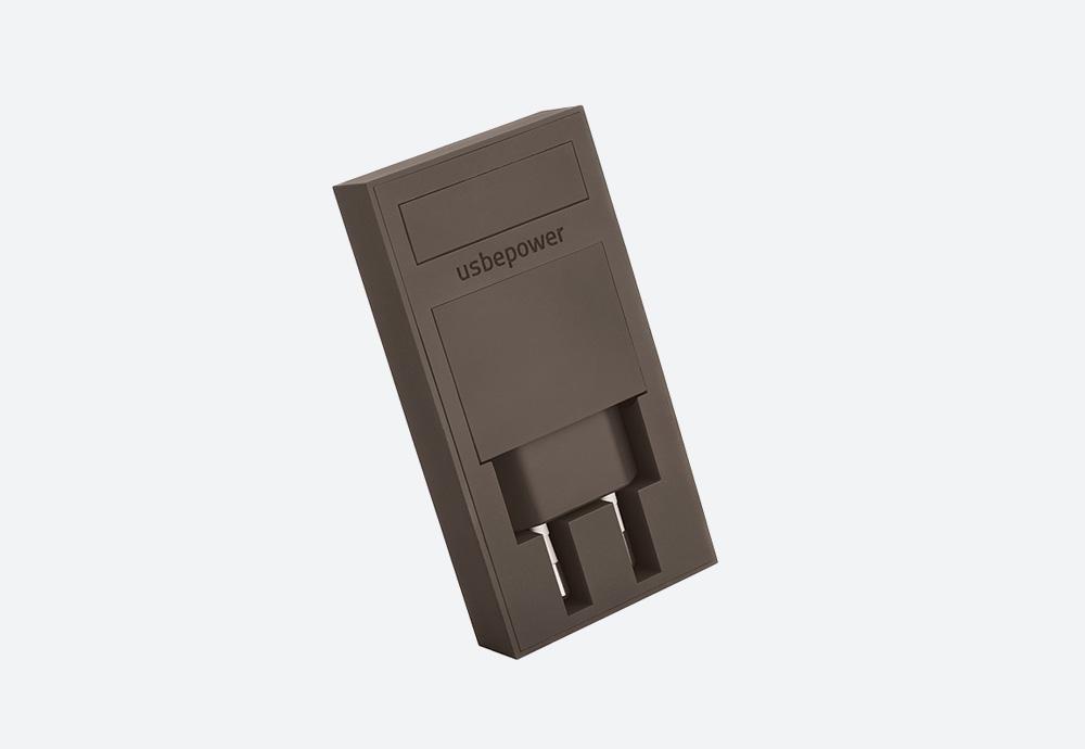 Usbepower Rock — USB nabíječka — designová, hranatá — hnědá — 2 porty typu A — stojan na telefon