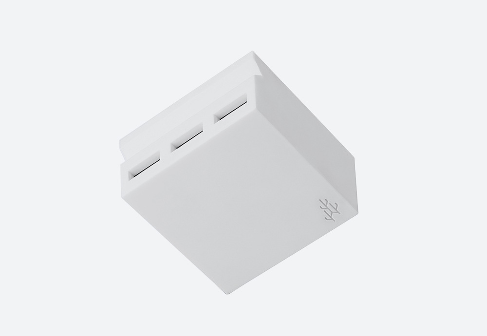 Usbepower Hide Mini — stylová USB nabíječka — designová, hranatá — bílá — 3 porty typu A — stojan na telefon