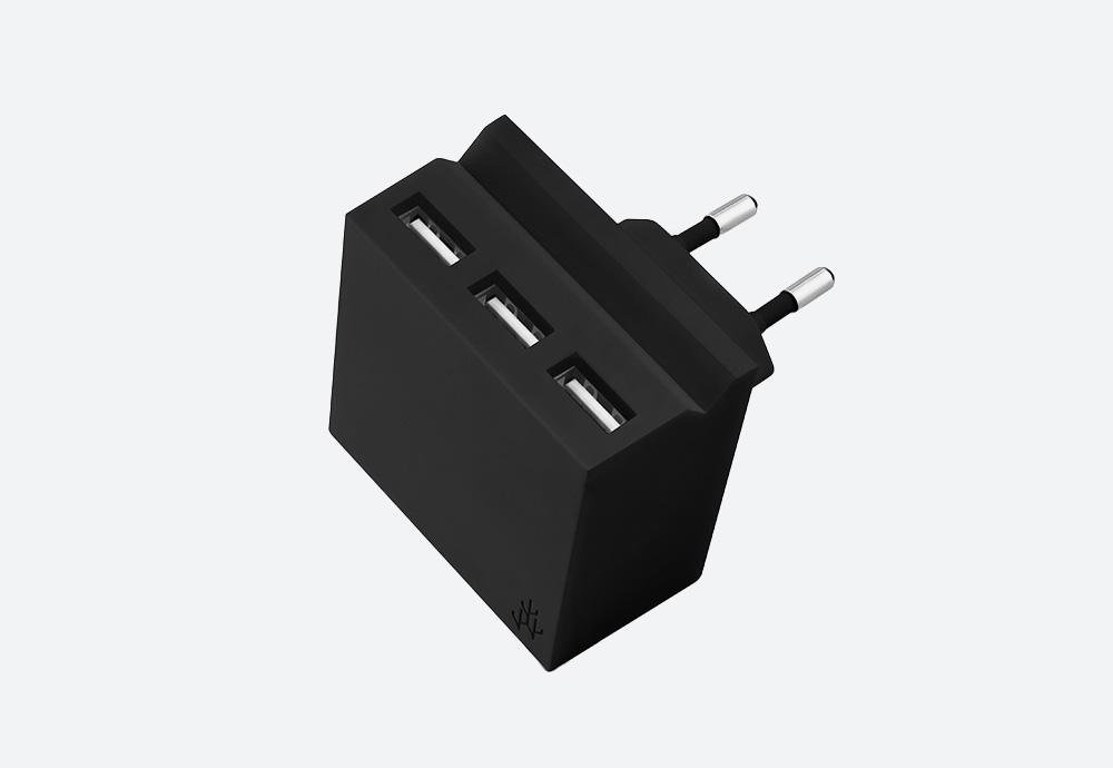 Usbepower Hide Mini — stylová USB nabíječka — designová, hranatá — černá — 3 porty typu A — stojan na telefon