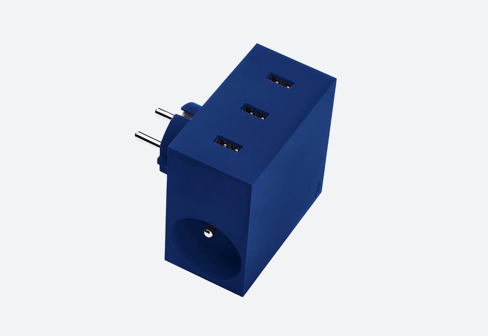 Usbepower Hide — USB nabíječka — designová, hranatá — modrá — 3 porty typu A, 2 síťové zásuvky