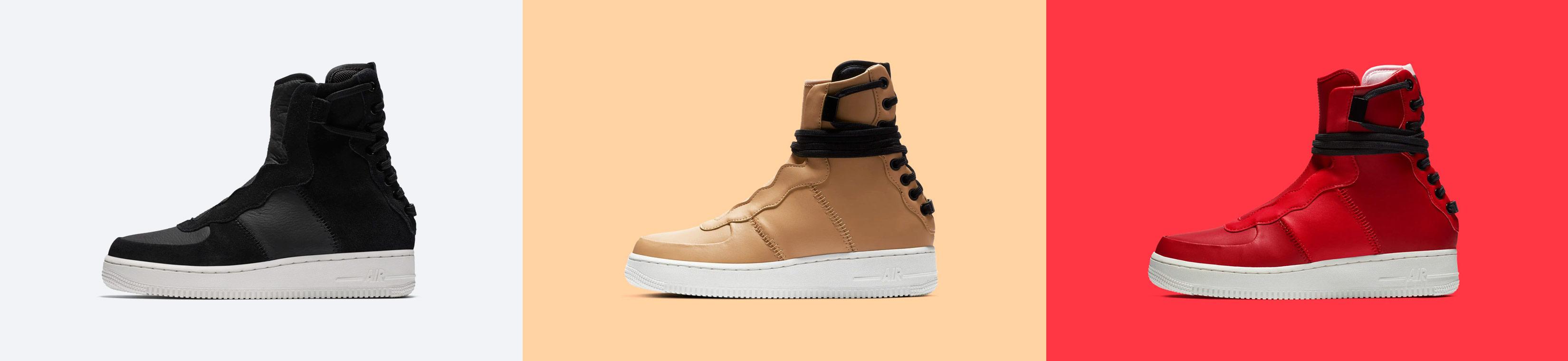 Nike Air Force 1 Rebel XX — dámské vysoké boty — kotníkové — zimní — černé, béžové, červené