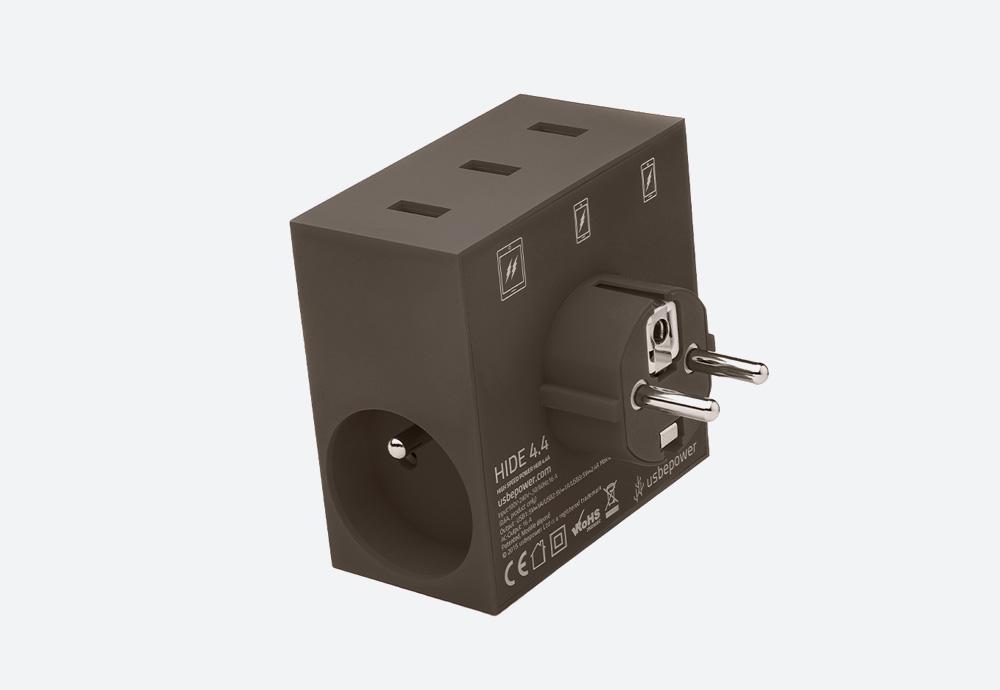 Usbepower Hide — USB nabíječka — designová, hranatá — hnědá — 3 porty typu A, 2 síťové zásuvky