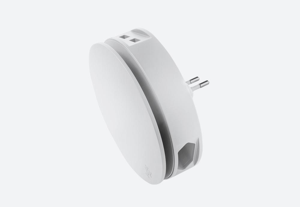 Usbepower Aero — designová domácí USB nabíječka, kulatá — bílá — 2 porty typu A, 2 síťové zásuvky