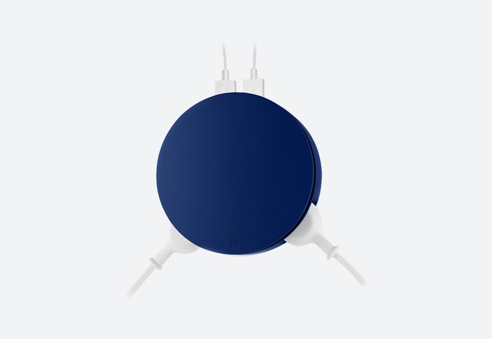 Usbepower Aero — stylová USB nabíječka, kulatá — modrá — 2 porty typu A, 2 síťové zásuvky